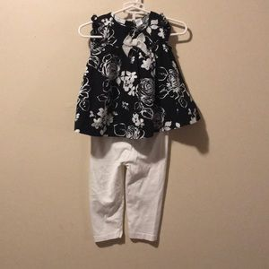Girls 6-9 month 2 piece outfit black & White